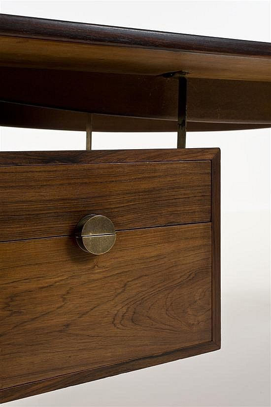 Finn Juhl; Rosewood and Metal Desk for Bovirke, 1956.
