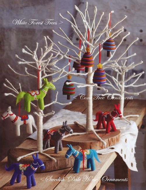 Scandinavian Dala Horse Christmas Tree Ornaments Set of 12
