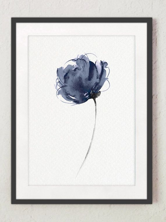 Abstract Navy Flower Watercolor Art Print, Modern Floral Painting Minimalist Wall Decor, Blue Flowers Home Garden Botanical Illustration