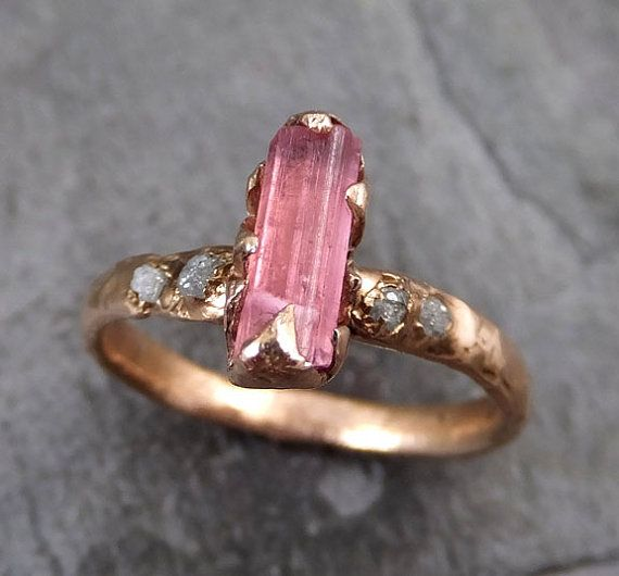 Fabulous Raw Pink Tourmaline Diamond Rose Gold Engagement Ring Wedding Ring One Of a Kind Gemstone Ring Bespoke Ring byAngeline Raw rough pink tourmaline