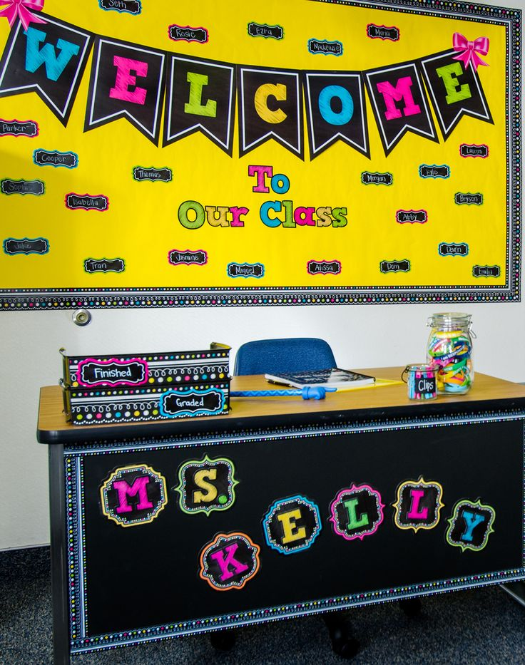 "Chalkboard Brights Pennants Welcome Bulletin Board Display - Use GIANT letters to create a welcome sign that no one can miss! Each pennant is 9-1/2"" x 13-1/2"". Also includes 41 multi-purpose cards and a teacher's guide with suggested activities. 48 pieces total."