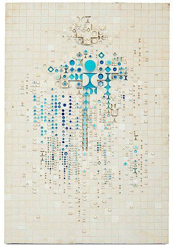 Rut Bryk; Glazed and Unglazed Ceramic Mosaic Composition, Arabia Finland, 1970s.