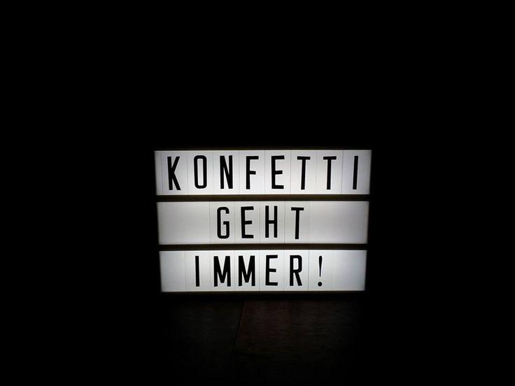 """Lichtbox Spruch: """"Konfetti geht immer"""""""
