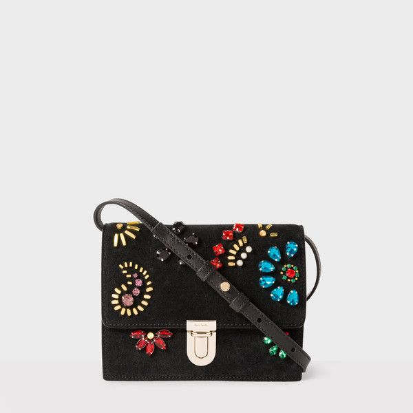 Paul Smith Women's Black Mini 'Concertina' Suede Satchel With Jewel... ($840) ❤ liked on Polyvore featuring bags, handbags, mini handbags, suede handbags, flap handbags, embellished handbags and striped purse