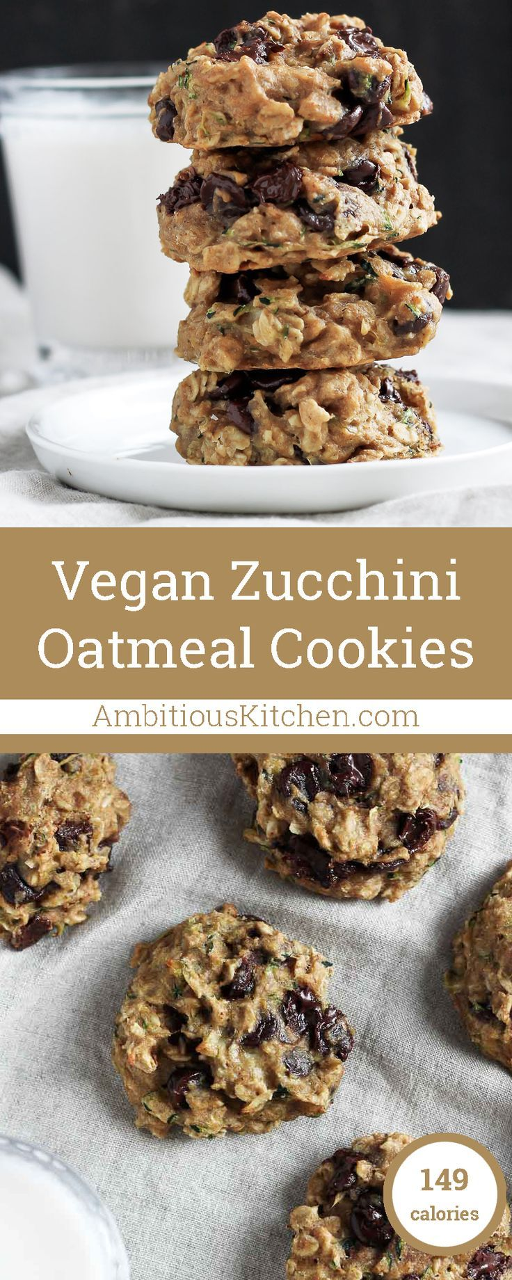 Vegan Healthy Banana Zucchini Oatmeal Cookies made with whole grains + naturally sweetened. These are AMAZING and healthy enough to eat for breakfast!