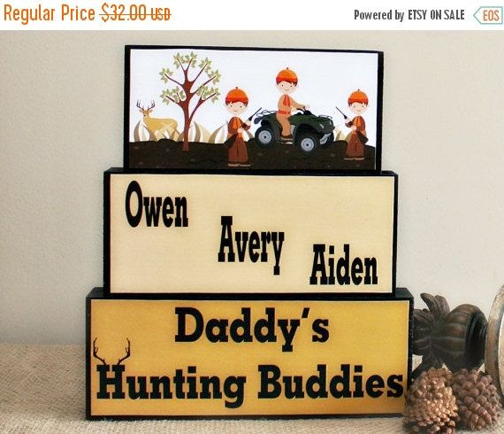 Daddy's Hunting Buddies Blocks - Hunting Buddy - Fathers Day Gift - Man Cave Decor - Gifts For Him - Dad Birthday Gift - Christmas Gift