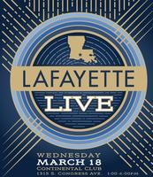 Lafayette LIVE at SXSW 2015 | Wednesday, March 18, 2015 | 1-6pm | Continental Club: 1315 S. Congress Ave., Austin, TX 78704 | Live music by CC Adcock and the Lafayette Marquis with Curley Taylor, Zydeco Radio, Lane Mack, and Rayo Brothers; film, interactive, and gaming programming; crawfish | Free with RSVP: https://www.eventbrite.com/e/lafayette-live-at-sxsw-2015-registration-15875888209