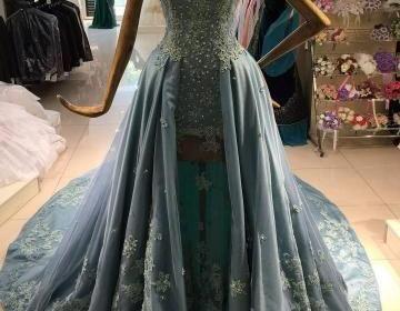 Dusty Blue Prom Dress, Tulle Prom Dress, Rhinestones Prom Dress, Elegant Prom Dress, Short Sleeve Prom Dress, Floor Length Prom Dress, Prom Dresses 2017, Cheap Graduation DressesSilhouette: A LineMate..