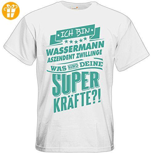 getshirts - RAHMENLOS® Geschenke - T-Shirt - Superkräfte Sternzeichen Wassermann Aszendent Zwillinge - white M - T-Shirts mit Spruch | Lustige und coole T-Shirts | Funny T-Shirts (*Partner-Link)