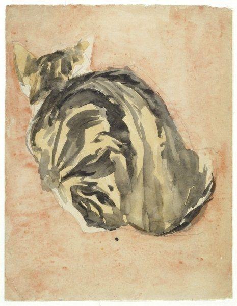 """""""Seated Tortoiseshell Cat"""" -- by Gwen John (1876--1936, British)"""