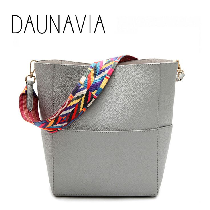 DAUNAVIA Luxury Brand Designer Bucket bag Women Leather Wide Strap Shoulder bag Handbag Large Capacity Crossbody bag Color 5 //Price: $17.00 & FREE Shipping //