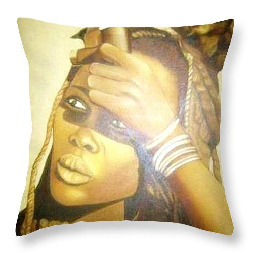"""Young Himba Girl Throw Pillow 14"""" x 14"""" by Tracey Armstrong"""