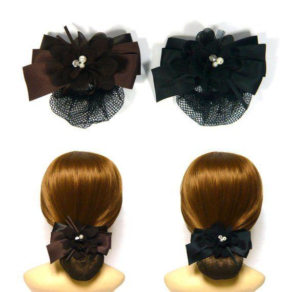 Green Nylon Hairstyle Bowtie Design Snood Net Holder Hair Clip Hairnet Hairclip