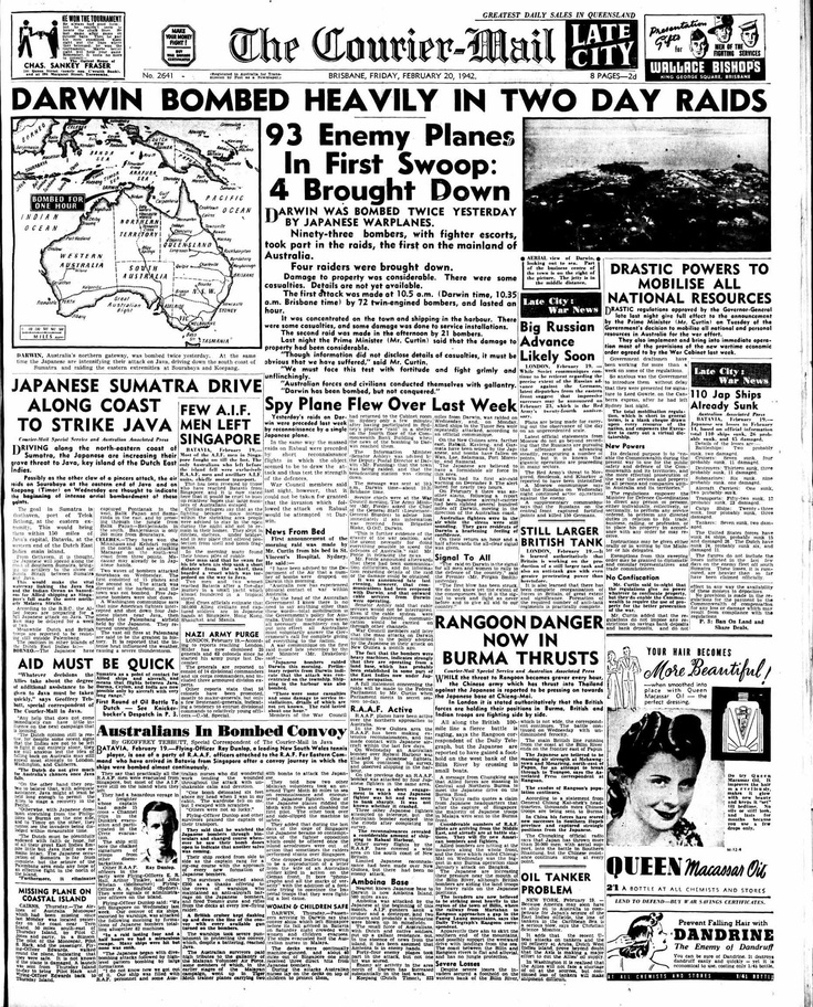 Darwin Bombed Heavily in Two Day Raids - Front page from Feb 20, 1942