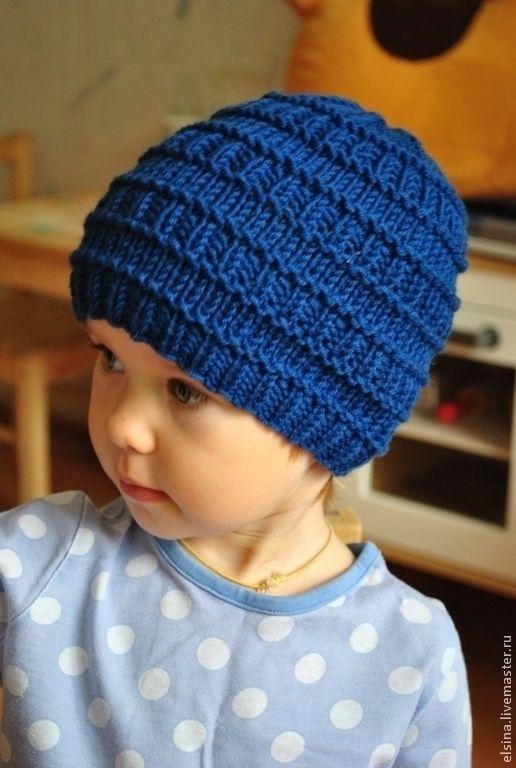 Купить Шапочка для мальчика - тёмно-синий, однотонный, шапка вязаная, шапка для мальчика, шапка осенняя