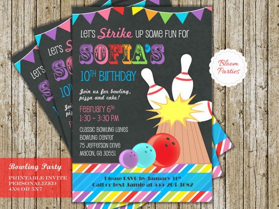 pretty, colorful girls bowling birthday party invitations
