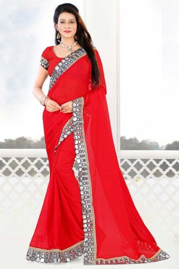 Chiffon Saree With Banglori Silk Blouse In Red Color - DMV12201