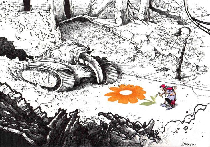 """TANK-You"". Black & white illustration. #stefanotamiazzo #illustration #peaceandlove"