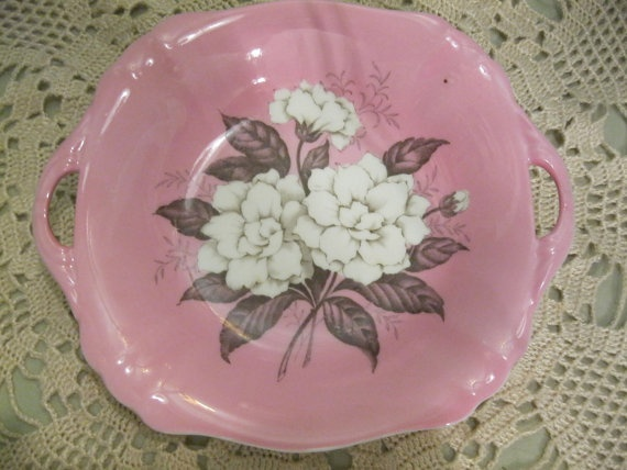 Lusterware Candy Dish/SALE/Pink Flowers/ Gardenia By Lipmeister @etsy.com