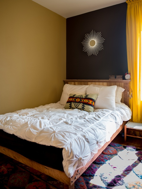 Bedroom Solution: Navy & Mustard; bed against the wall ...