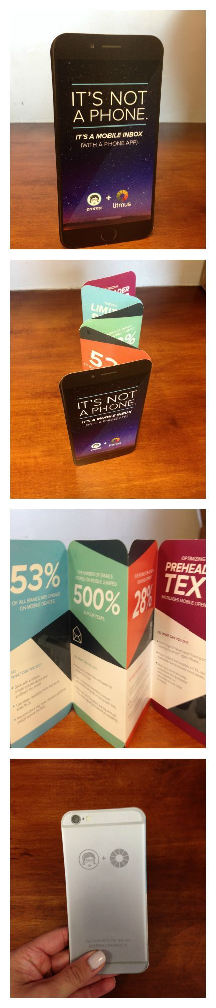 Cool die cut brochure in the shape of an iPhone.  Mini size.