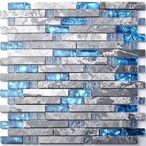 This is our new designed glass stone tile for interior walls, bathroom wall, sink backsplash, fireplace and kitchen backsplash. It is made with ocean blue glass