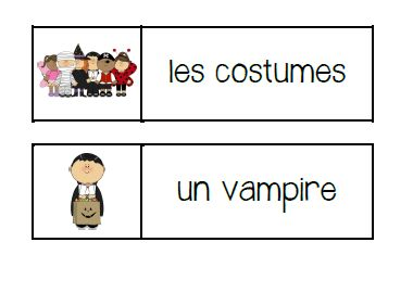 Primary French Immersion Resources - Halloween word wall words and vocabulary games