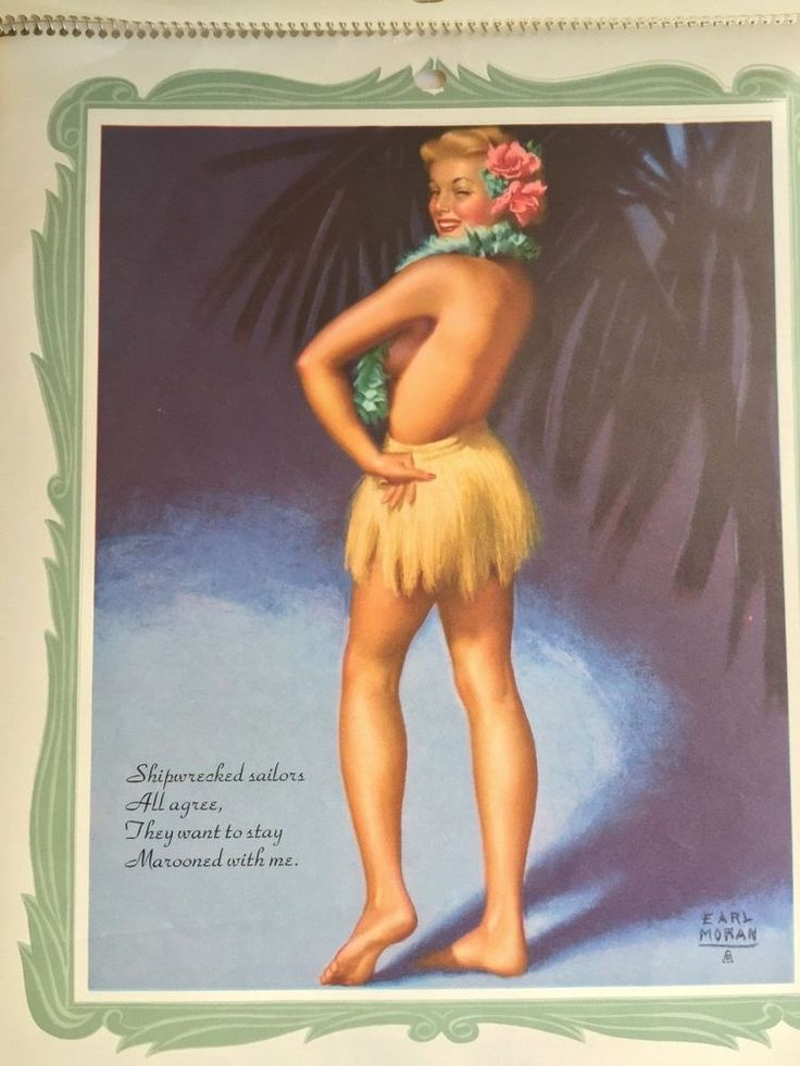 """This is an original pin up girl advertising wall calendar. Not a recent reproduction. By famous pin up artistEarl Moran. Has 12 pages plus cover with each page a different month and picture. Calendar titled """"Earl Moran's Girl's of 54"""". 