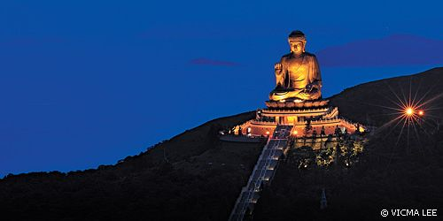 Tian Tan Buddha Statue -- The Big Buddha and Po Lin Monastery | Climb 268 steps for a closer look... best time is early morning on weekdays!  •• http://www.plm.org.hk/eng/home.php •• http://acruisingcouple.com/2013/06/lantau-island-hong-kong-is-the-big-buddha-worth-it/ •• http://www.plm.org.hk/eng/buddha.php?mainnav=1