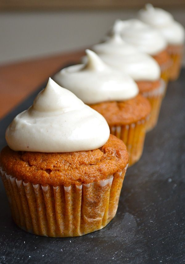 Pumpkin Cupcakes + the best cream cheese frosting ever. Seriously, use this cream cheese frosting and no other one. ever.