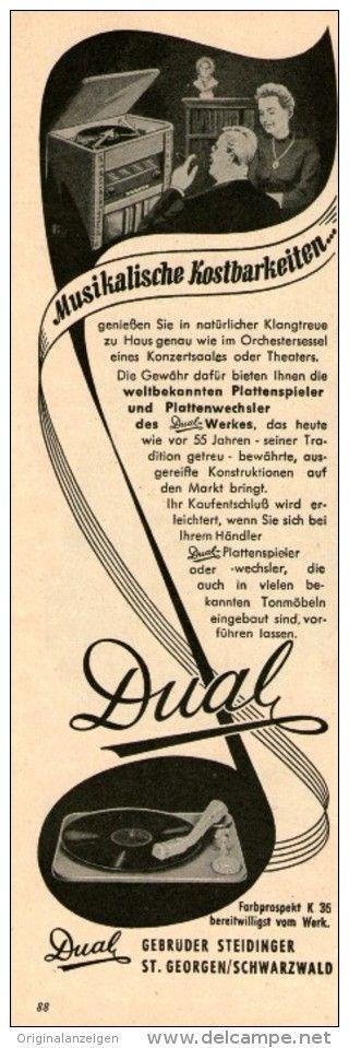 Original-Werbung/ Anzeige 1954 - DUAL PLATTENSPIELER / STEIDINGER - ST.GEORGEN - ca. 65 x 220 mm