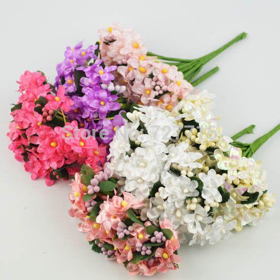 O envio gratuito de Alta Qualidade Mini flores de Tecido artificial buquês e estame Scrapbooking decoração de casamento Buquê de Noiva(China (Mainland))