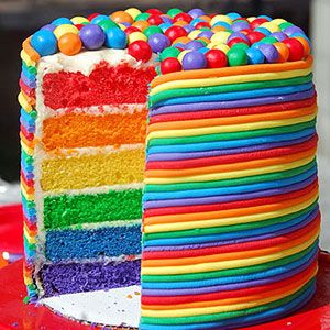 Rainbow Birthday Cake -- WOW | via Meaningful Mama