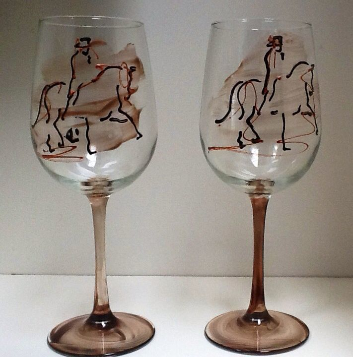 Western and horses - Glassware Creations by Laurie