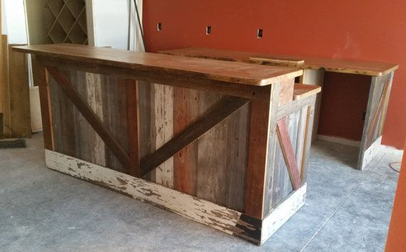 Bar Made From Reclaimed Pine Barn Siding with Live Edge Top **Free Shipping**
