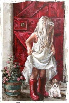 """""""Puppy Love and Princesses"""" -- by Maria M Oosthuizen, (1972, South African)"""