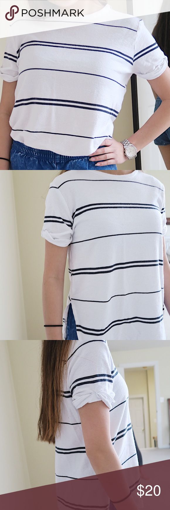 Zara Black + White Striped T - Shirt Zara Black + White Striped T - Shirt ▫️ Used ▫️ Good Condition ▫️ Bundle Discount: 10% off 3 items or more ▫️ no trades | accepting reasonable offers Zara Tops Tees - Short Sleeve
