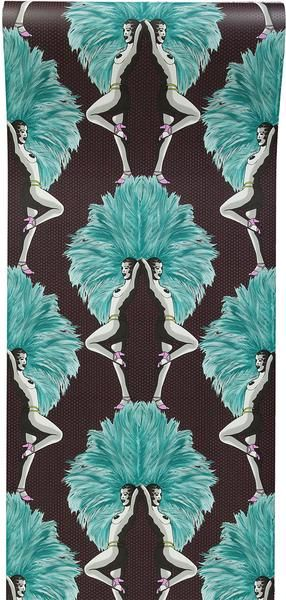 """Melissa Scott - 'Showgirls Wallpaper Blue' """"A fabulous wallpaper design evoking a graphic, contemporary take on a classic Burlesque theme, while maintaining an"""