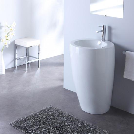 Lavabo sur pied rond design Blanc