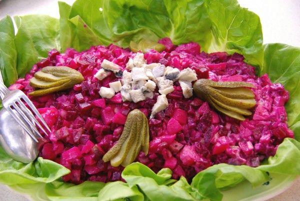 Beetroot salad with herring