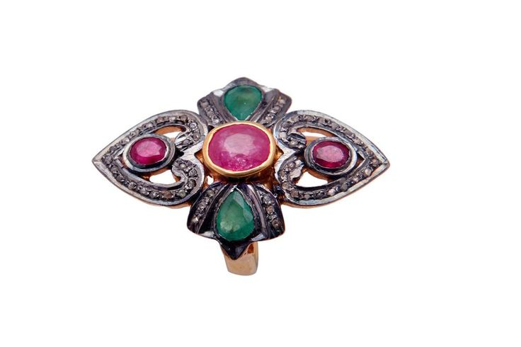 PAVE DIAMOND NATURAL EMERALD AND RUBY GEMSTONE 925 STERLING SILVER COCKTAIL RING #SilvexStore #Cocktail