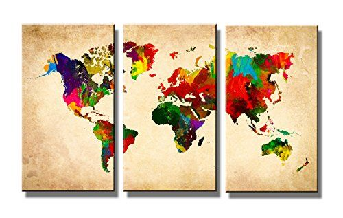 """Pictures on canvas length 63"""" height 35"""" Nr 1169 world map ready to hang, brand original Visario ! Visario http://www.amazon.co.uk/dp/B00TWMFUVQ/ref=cm_sw_r_pi_dp_5ivawb1NG291E"""