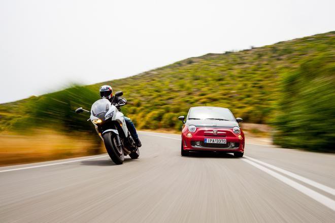Όταν ο σκορπιός (Abarth 595 Turismo) συνάντησε το άσπρο άτι (Honda CBF 1000) #FIAT #Honda http://www.caranddriver.gr/article.asp?catid=33053&subid=2&pubid=7316534