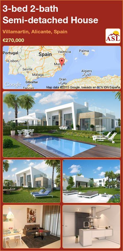 3-bed 2-bath Semi-detached House in Villamartin, Alicante, Spain ►€270,000 #PropertyForSaleInSpain