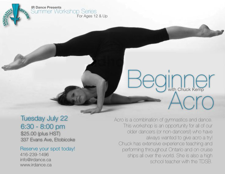 Beginner Acro Workshop!  A great chance to try something new at Innovative Rhythm Dance Studios