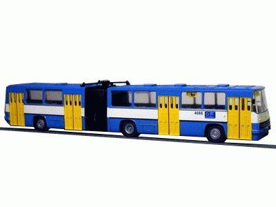 """Model kloubového autobusu IKARUS 280, provedení """"DP Ostrava"""", Ep.V. Měřítko 1:87"""