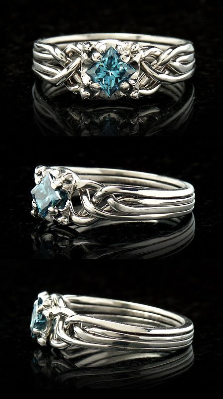 celtic puzzle wedding rings for her | Guinevere blue diamond puzzle ring - puzzle engagement ring ~ This is beautiful ... Maybe get one with a peridot since both of our birthdays are in August or maybe get one with the birthstone color for October since we're getting married in October.