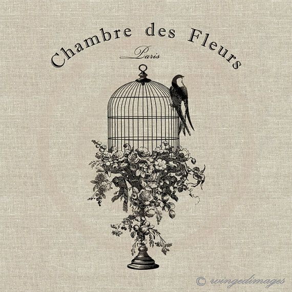Vintage French Bird Cage Swallow Instant Download Digital Image No.115 Iron-On Transfer to Fabric (burlap, linen) Paper Prints (cards, tags)