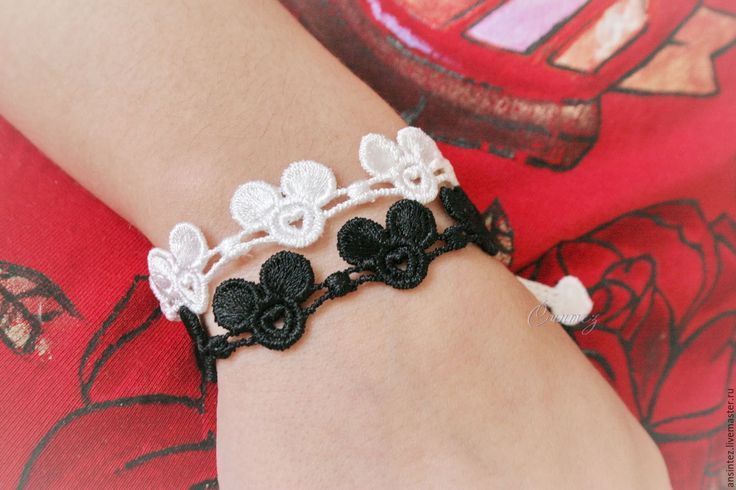 Buy bracelets embroidery Contradictory Mickey 2pcs set. - black and white, embroidered bracelet