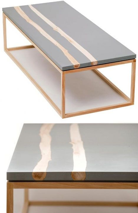 Resin and wood table.